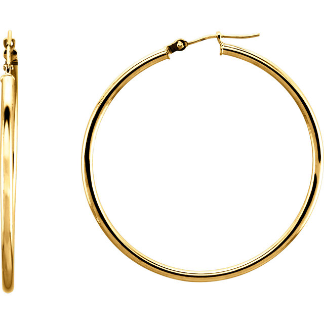14K Yellow 40 mm Tube Hoop Earrings