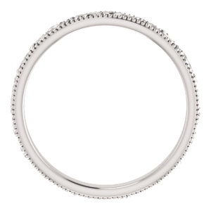 14K White Design-Engraved Wedding Band Size 7