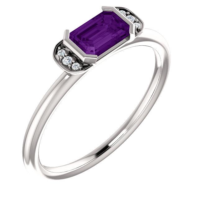 14K White Amethyst & .02 CTW Diamond Stackable Ring