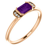 14K Rose Amethyst & .02 CTW Diamond Stackable Ring