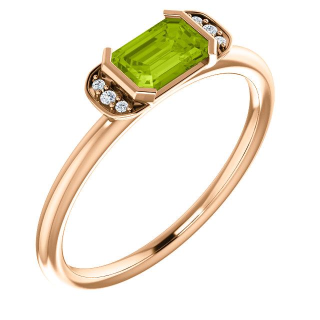 14K Rose Peridot & .02 CTW Diamond Stackable Ring