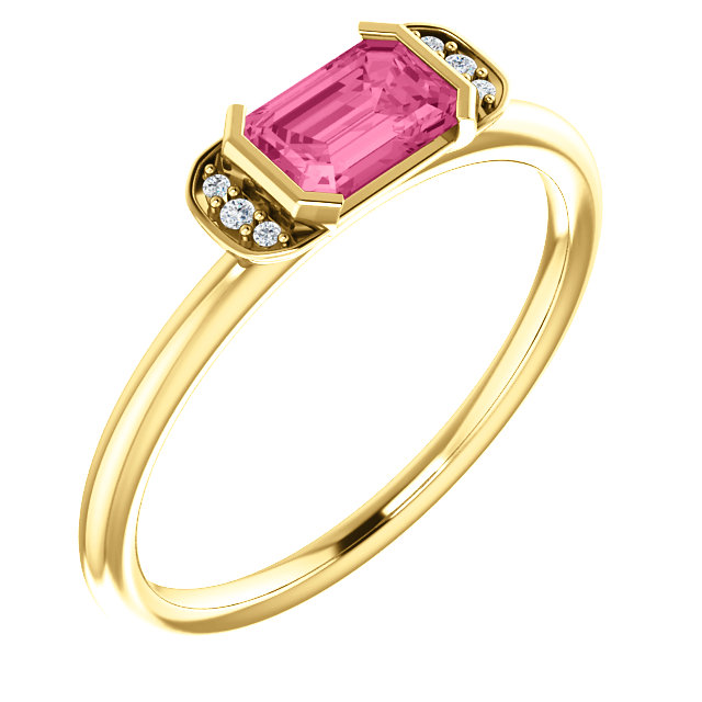 14K Yellow  Pink Tourmaline & .02 CTW Diamond Stackable Ring