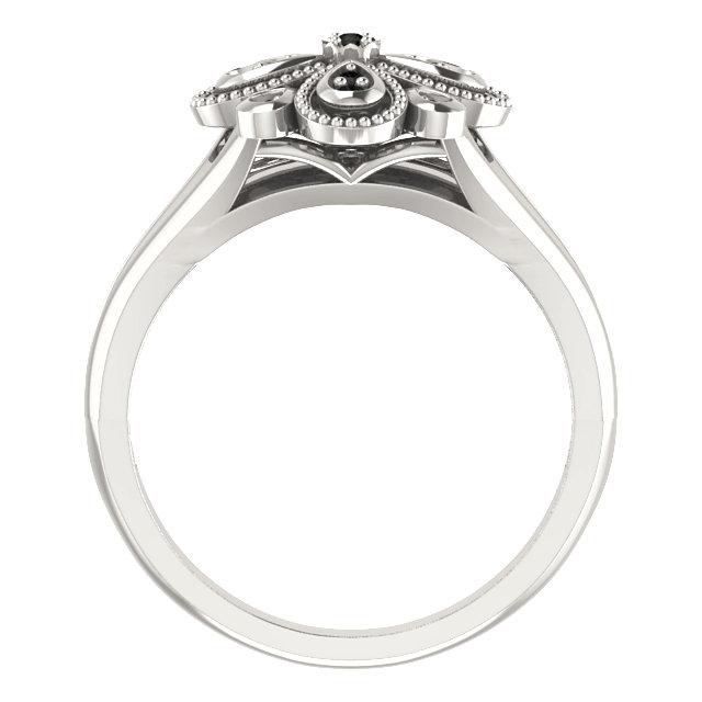 Sterling Silver Black Spinel Floral-Inspired Ring