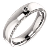 Men's Bezel-Set Milgrain Ring