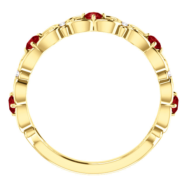 14K Yellow Chatham® Created Ruby & .02 CTW Diamond Vintage-Inspired Scroll Ring