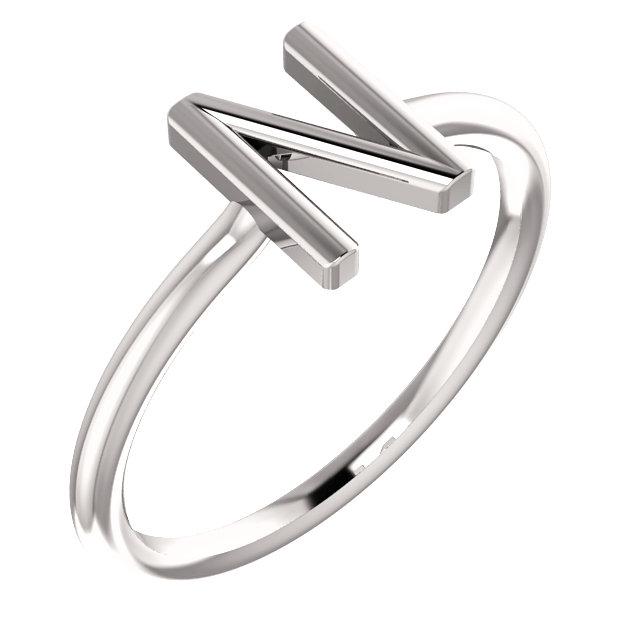 14K White Initial N Ring