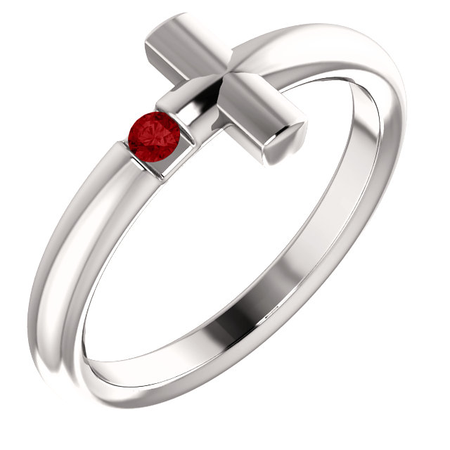 14K White Ruby Sideways Cross Ring