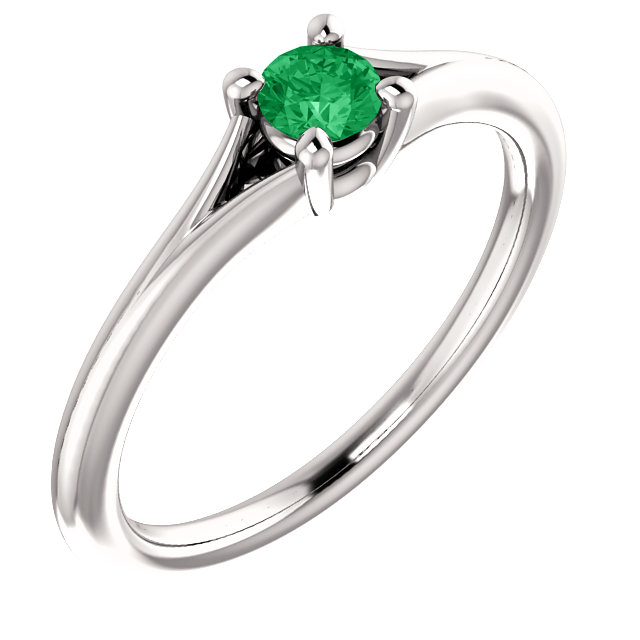 14K White Chatham® Created Emerald Youth Ring