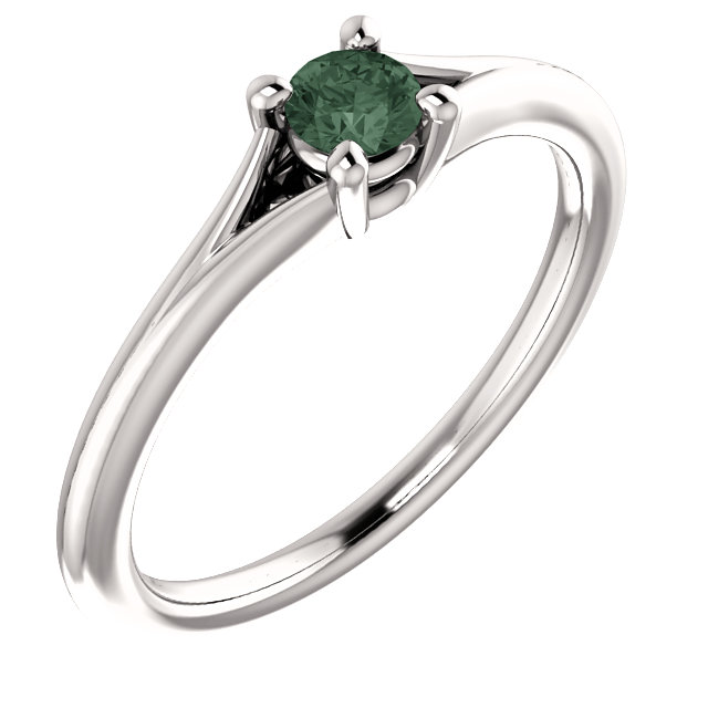 14K White Chatham® Lab-Created Alexandrite Youth Ring
