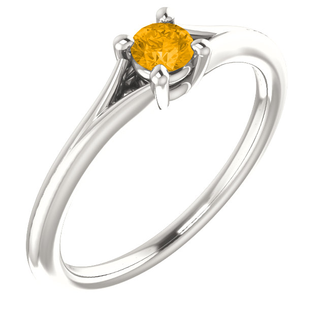 Sterling Silver Imitation Citrine Youth Ring