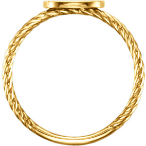 14K Yellow Antique Engravable Rope Ring