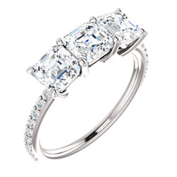 Three-Stone Accented Engagement Ring