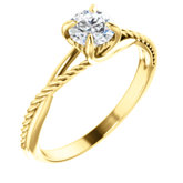 Solitaire Rope Engagement Ring or Band