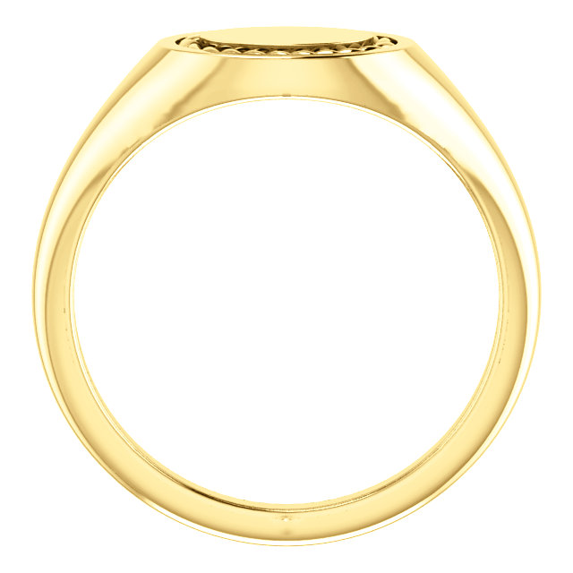 14K Yellow Oval Rope Signet Ring
