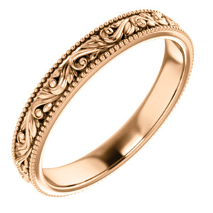 14K Rose 3.2 mm Scroll Band Size 6.5