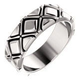 X-Pattern Quilted Wedding Band