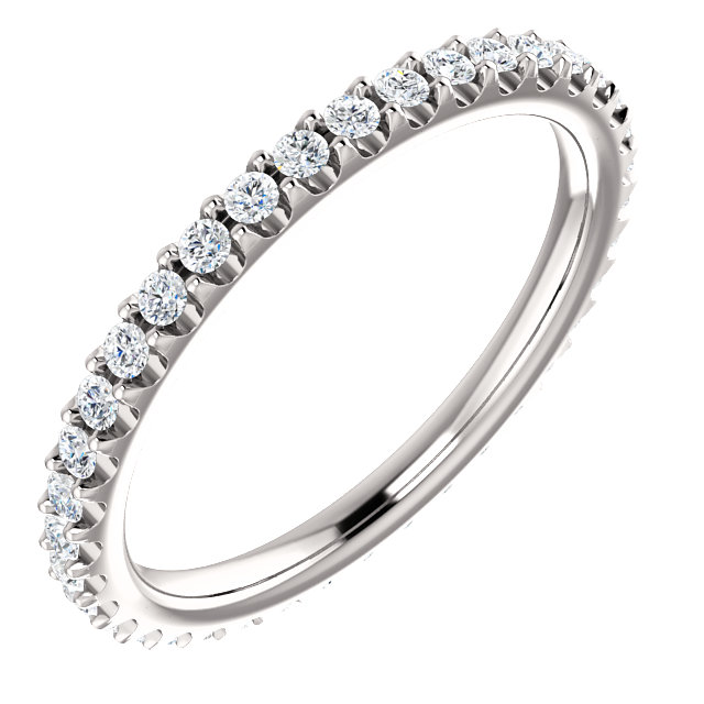 14K White 3/8 CTW Diamond Eternity Band Size 5.5