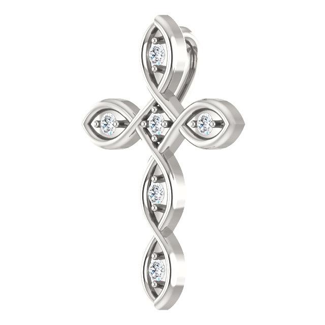 Sterling Silver 1/10 CTW Diamond Cross Pendant