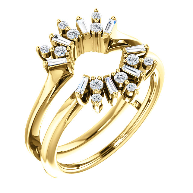 14K Yellow 1/3 CTW Diamond Art Deco Baguette Ring Guard