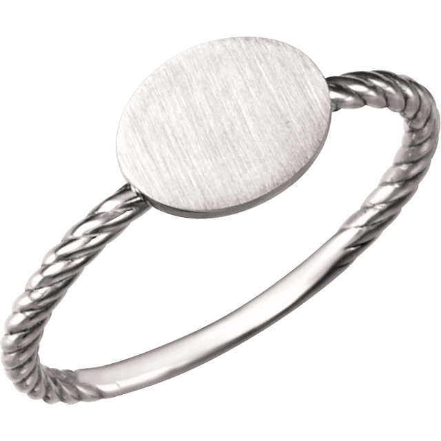 14K White Oval Engravable Rope Ring