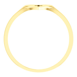 14K Yellow Youth Heart & Cross Ring