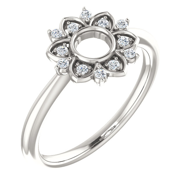 Sterling Silver 1/10 CTW Diamond Starburst Ring