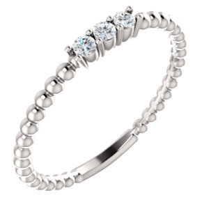 14K White 1/10 CTW Diamond Beaded Ring