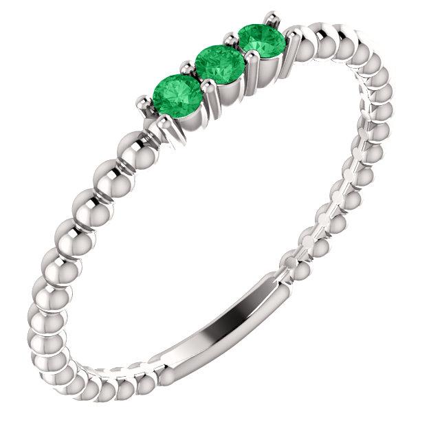 14K White Emerald Beaded Ring