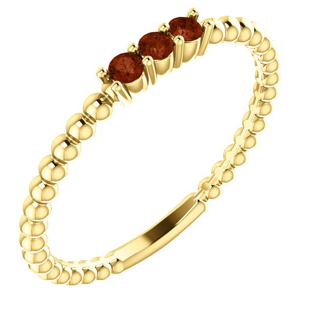14K Yellow Mozambique Garnet Beaded Ring
