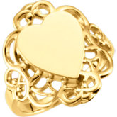 Heart Filigree-Design Signet Ring