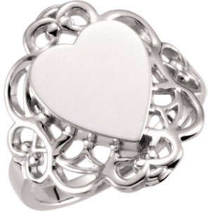 Fashion Rings , Platinum 12.4x10.6mm Heart Filigree-Design Signet Ring