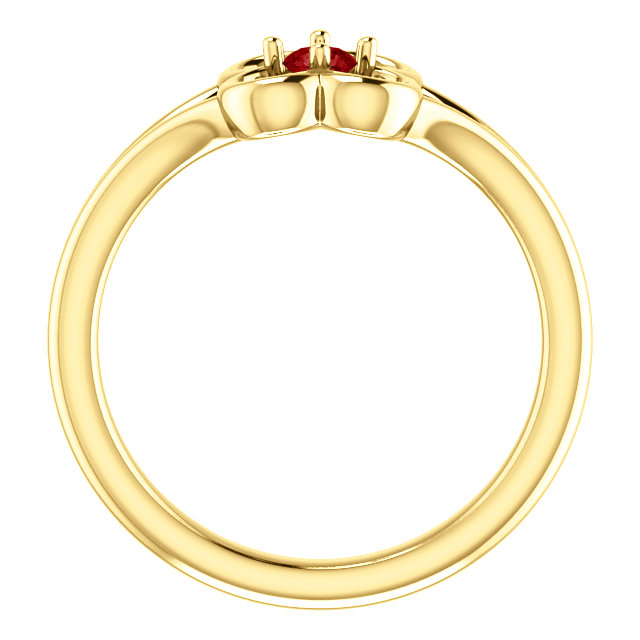 14K Yellow Ruby Flower Youth Ring
