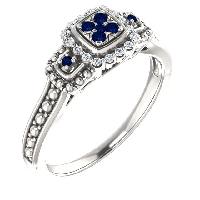 Sterling Silver Blue Sapphire & .06 CTW Diamond Ring