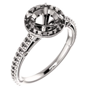 14k White 6 5mm Round Halo Style Enement Ring Mounting