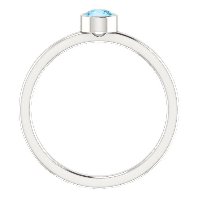 Sterling Silver Imitation Aquamarine Ring
