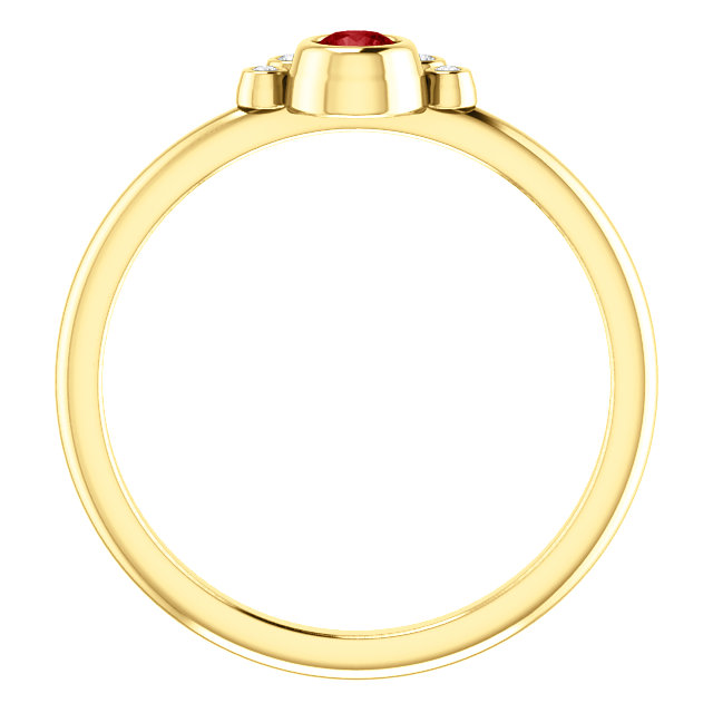 14K Yellow Ruby & .04 CTW Diamond Ring