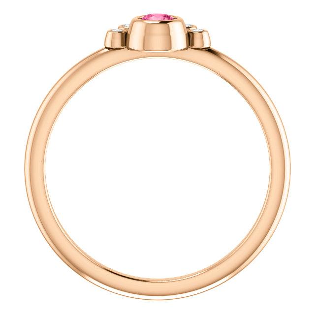 14K Rose Pink Tourmaline & .04 CTW Diamond Ring
