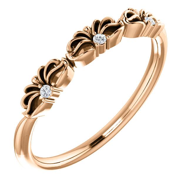 14K Rose .03 CTW Diamond Crown Ring