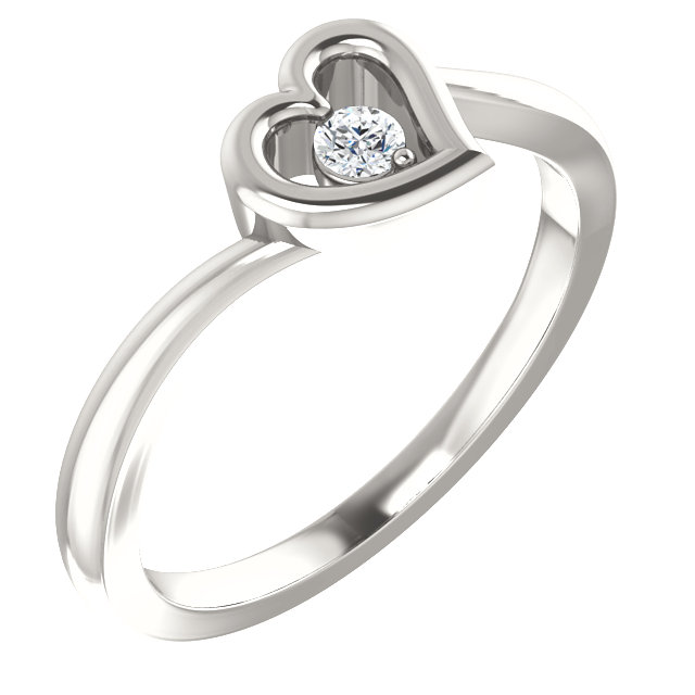 Sterling Silver 2.5 mm Round Cubic Zirconia Heart Ring Size 6
