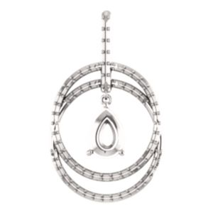 14K White 8x6 mm Pear Double Row Circle Pendant with