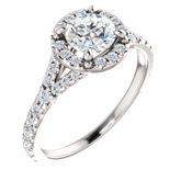 Halo-Style French-Set Engagement Ring or Band