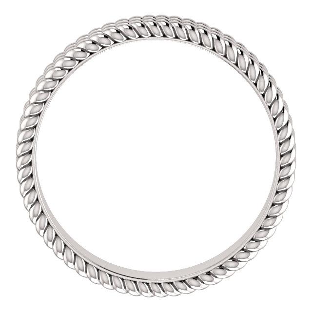 14K White Layered Stacked Rope Band Size 7