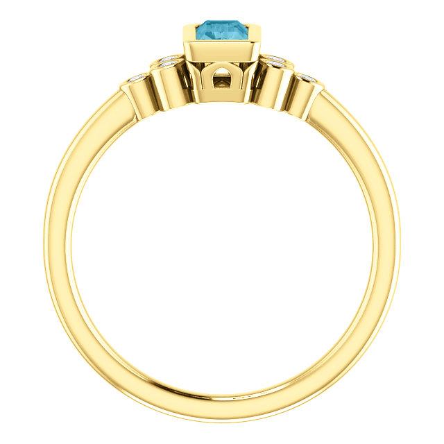 14K Yellow London Blue Topaz & .06 CTW Diamond Ring