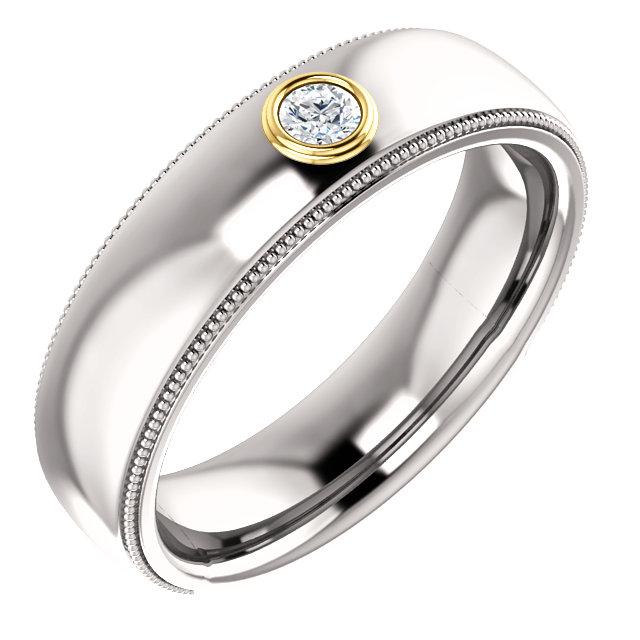 14K White & Yellow 1/10 CTW Men-s Diamond Ring