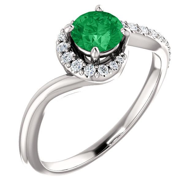 14K White Chatham® Created Emerald & 1/6 CTW Diamond Ring