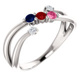 Accented Bypass Family Ring