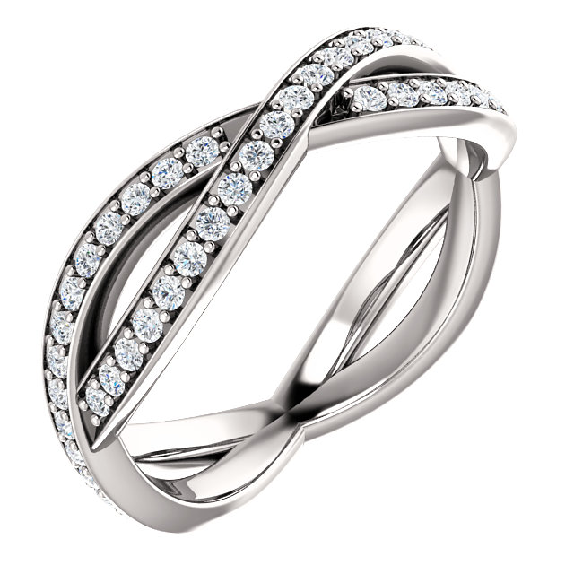 14K White 1/2 CTW Diamond Round Eternity Band Size 7