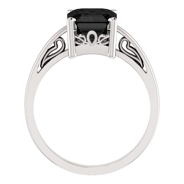14K White Onyx Scroll Setting® Ring
