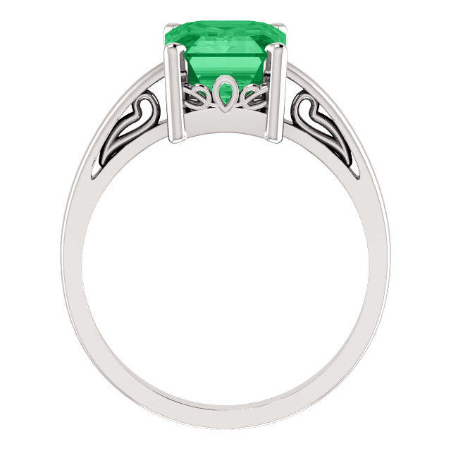 14K White 9x7mm Emerald Scroll Setting® Ring Mounting