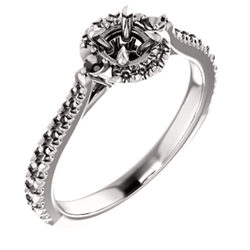 French-Set Halo-Style Engagement Ring